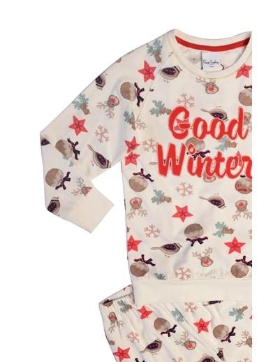 Pierre Cardin Pierre Cardin Kız Çocuk Pijama Takımı Ekru Ekru
